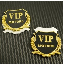 3D Chrome Metal VIP Car Decal Emblem Sticker 2pcs
