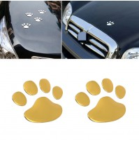 3D Dog Paw Foot Prints Car Decal Emblem Sticker Golden Colour