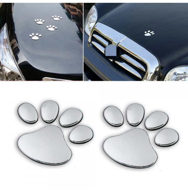3d dog paw foot prints car decal emblem sticker silver colour