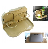Foldable Car Back Seat Dining Tray Bottle Holder
