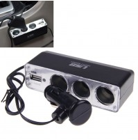 3 Triple Socket Car Cigarette Lighter + USB Power