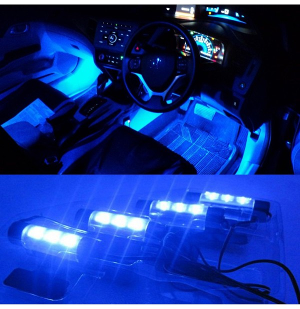 4 x 3LED Blue Car Charge Interior Decorative Light