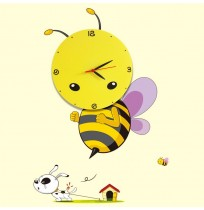 3D DIY Decal Clock Cartoon Funny Bee Nursery Room