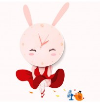 3D DIY Decal Clock Cute Rabbit Girl Nursery Room