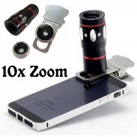 4in1 10x Zoom Telescope Fish Eye Wide Angle Macro Clip Lens For All Phone