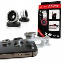 Universal 3 In 1  Wide + Macro + Fisheye Clip Lens Kit for All Phone