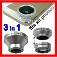 Universal 3 in 1 Macro Len + Fish eye + Wide Angle Kit For All Phones