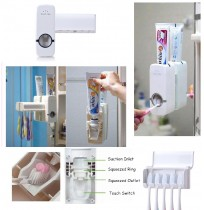 Auto Toothpaste Dispenser + Toothbrush Holder Set