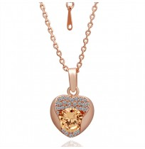 Real 18K Gold Plated Crystal Pave In Love Heart Necklace