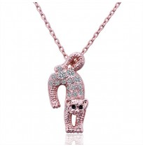 18K Plated Crystal Pave Lovely Leopard Necklace