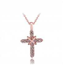 Real 18K Gold Plated Crystal Crucifix Faith Cross Necklace