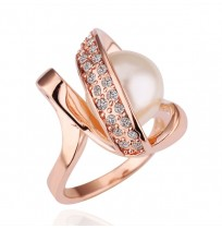 Real 18K Rose Gold Plated Crystal Wrap White Pearl Ring