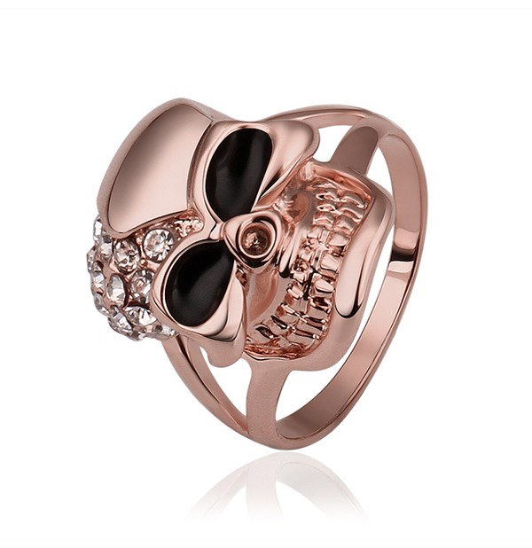 Real 18K Rose Gold Plated Skull Shape Cocktail Diamond Ring