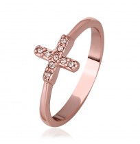 Real 18K Rose Gold Plated Cross Pave Austrian Diamonds Ring