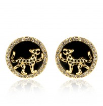 18K Yellow Gold Plated CZ Pave Panther Round Stud Earrings