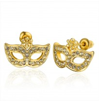 18K Plated CZ Pave Masquerade Mask Stud Earrings