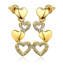 18K Plated Dangle Drop Love Hearts Stud Earrings