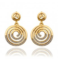Real 18K Gold Plated Crystal Pave Corkscrew Stud Earrings