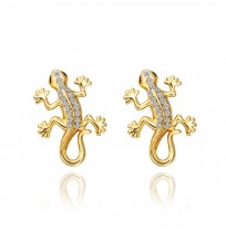 Real 18K Gold Plated Diamond Pave Gecko Stud Earrings