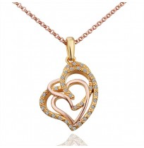 18K Plated Triple Lock In Love Hearts Necklace