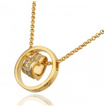 18K Plated Crystal Pave Heart and Circle Necklace