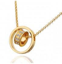18K Plated Crystal Pave Love Double Circle Necklace