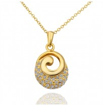 18K Yellow Gold Plated CZ Pave Vortex Necklace