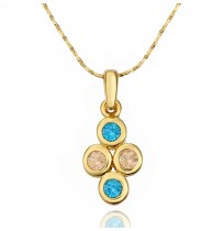 18K Gold Plated CZ Four Circles Fidelity Necklace