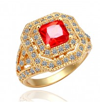 18K Gold Plated Large Cushion Cut CZ Tower Ring