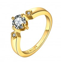 18K Plated Round Cut Three Stones CZ Ring