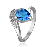 Real 18K Gold Plated Teardrop Light Blue Sapphire Ring