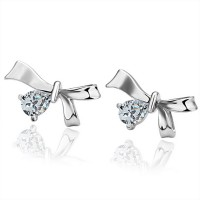 Real 18K Gold Plated Cute Crystal Ribbon Bow Stud Earrings