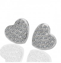 18K Plated Crystal Pave Love Heart Stud Earrings