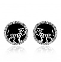 18K White Gold Plated CZ Pave Panther Round Stud Earrings