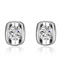 18K Plated Solitaire Crystal Stud Earrings