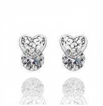 Real 18K Gold Plated Love Heart Cubic Zirconia Stud Earrings
