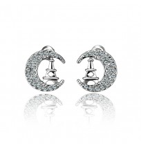Real 18K Gold Plated Crystal Lunar Shape Stud Earrings