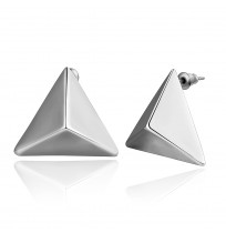 18K Gold Plated Punk Stereo Triangle Stud Earrings