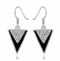 18K Gold Plated CZ Pave Triangles Dangle Earrings