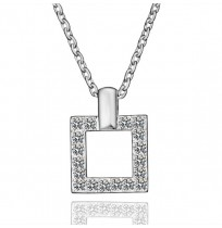 18K Gold Plated CZ Crystal Pave Square Necklace
