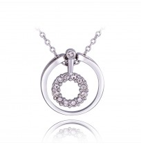 18K Gold Plated CZ Dual Circle Pendant Necklace
