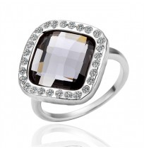 18K Gold Plated Square Cut Black CZ Statement Ring