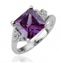 18K Gold Plated Cushion Cut CZ Amethystine Diamonds Tower Ring