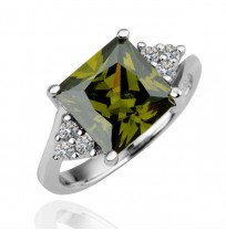 18K Gold Plated Cushion Cut CZ Emerald Diamonds Tower Ring