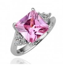 18K Gold Plated Cushion Cut CZ Pink Diamonds Tower Ring