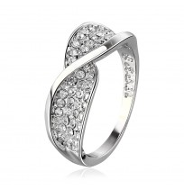 18K White Gold Plated Crystal Pave Twist Wrap Ring