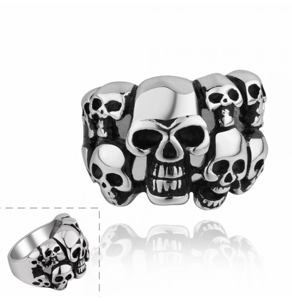 Men's 316L Stainless Steel Skull Heads Ring