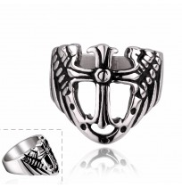 Men's 316L Stainless Steel Knight Shield Cross Ring