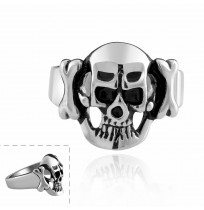 Men's 316L Stainless Steel Antique Skull Head Bone Ring