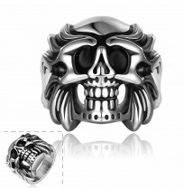 Men's 316L Stainless Steel Retro Wrath Skull Ring